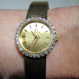 14K YG Vintage Diamond Omega Watch